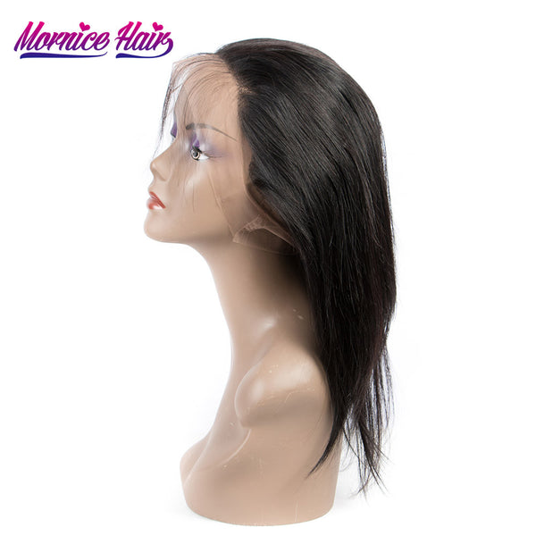Mornice Hair Brazilian Remy Hair Straight Hair Pre Plucked 360 Lace Frontal Density 130% Bleached Knots With Baby Hair