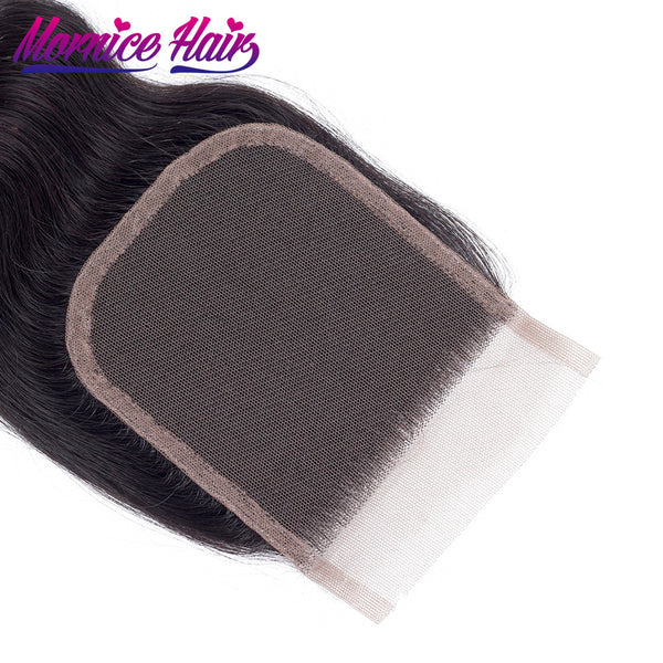 Mornice Hair Peruvian Body Wave Lace Closure 4X4 Free Part 100% Hand Tied Remy Human Hair Closure Density 130%