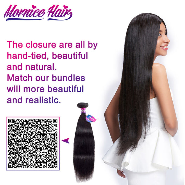 Mornice Hair Malaysian Straight Hair Lace Closure 4X4 Three Part 100% Hand Tied Remy Human Hair Closure Density 130%