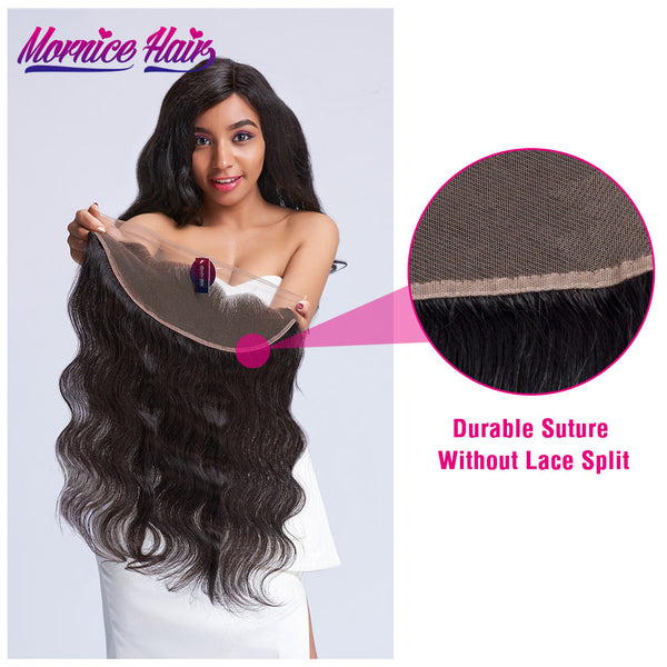 Mornice Hair Brazilian Remy Hair Ear To Ear Lace Frontal Closure Body Wave Free Part Density 130% Bleached Knots With Baby Hair