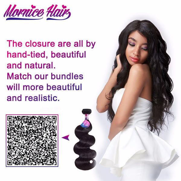 Mornice Hair Brazilian Body Wave Lace Closure 4X4 Three Part 100% Hand Tied Remy Human Hair Closure Density 130%