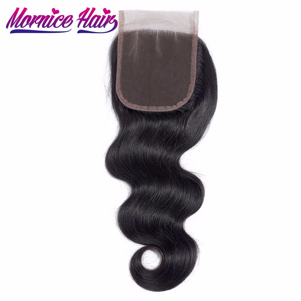 Mornice Hair Malaysian Body Wave Lace Closure 4X4 Lace Closure Three Part Body Remy Hair Bleached Knots All Hand Tied Closure