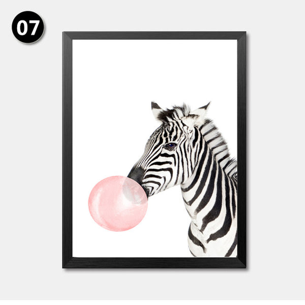 Nordic Cute Animals Zebra Giraffe Panda Canvas Painting Cartoon Bubbles Balloon Print Poster Canvas Art For Child Room HD2178