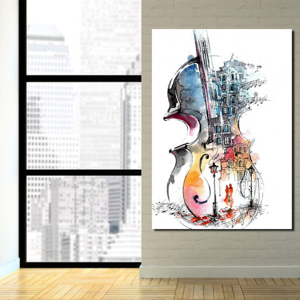 HD Printed 1 piece music guitar canvas painting abstract art canvas pictures for living room decoration Free shipping/ny-6678D