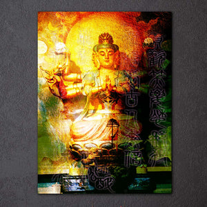 1 piece canvas art large buddha wall art meditation canvas Painting Posters and Prints wall picture for living room ny-6641D
