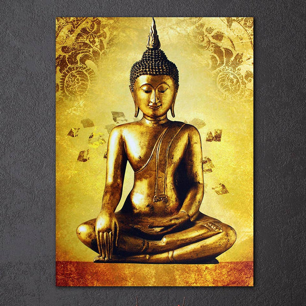 1 piece canvas art golden buddha framed art canvas painting posters and prints wall picture for living room ny-6639D
