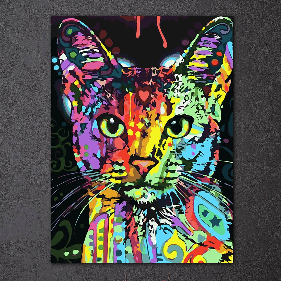 HD Printed 1 piece canvas Painting color cat animal wall picture canvas pictures for living home decor Free shipping/ny-6674D