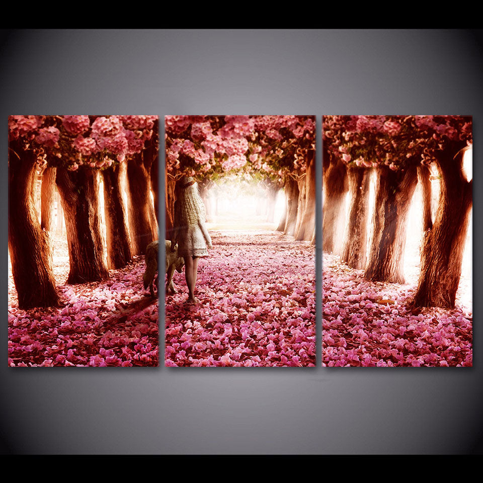 HD printed 3 Piece Cherry Blossoms Canvas Painting Pink Canvas Prints Flowers Wall Pictures for Living Free Shipping ny-6721B