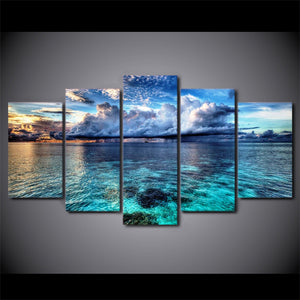 HD printed 5 piece canvas art seascape poster clouds painting wall pictures for living room modern free shipping/CU-1555A