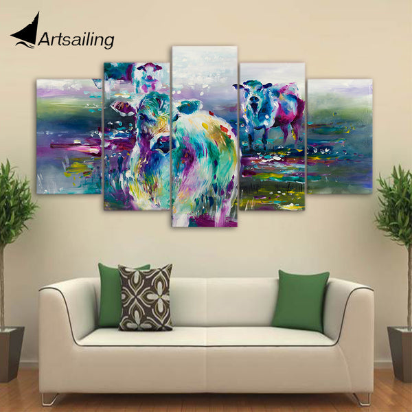 HD printed 5 piece canvas art abstract animal painting colorful calf prints and posters living room decor free shipping ny-6510