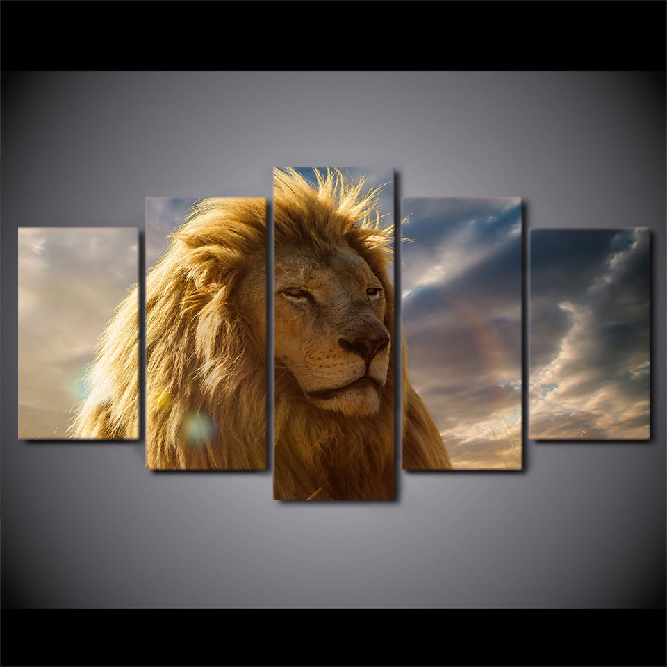 HD printed 5 piece animal head paintings yellow lion wall canvas prints canvas painting for living room free shipping ny-6731B