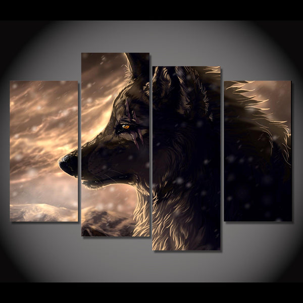 HD Printed canvas painting 4 piece black hunting wolf animal canvas prints picture posters and prints Free shipping/CU-1412B