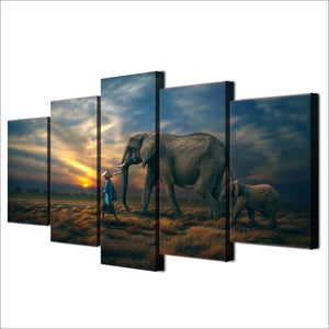 5 Piece Canvas Art Elephants Sunset HD Printed Wall Art Home Decor Canvas Painting Picture Poster Prints Free Shipping NY-6586A