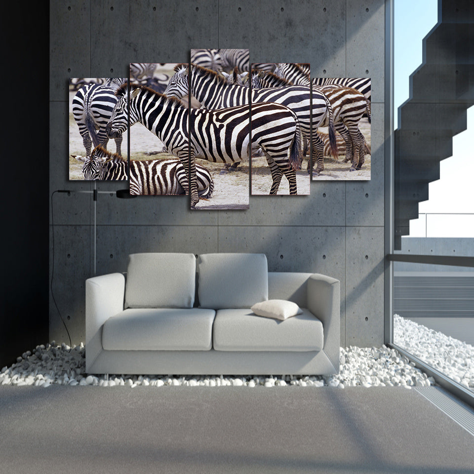 HD Printed Africa Zebra landscape Group Painting room decor print poster picture canvas Free shipping/D011