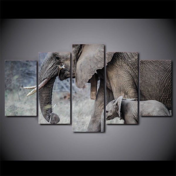 HD Printed elephants walk young trunk tusks Painting Canvas Print room decor print poster picture canvas Free shipping/ny-6031