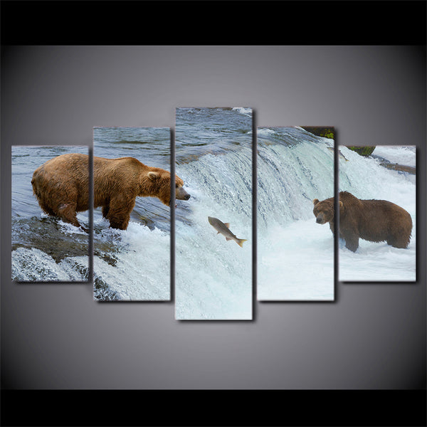 HD printed 5 piece Canvas Painting Bear River Artwork living room decor canvas pictures for living room free shipping ny-6516