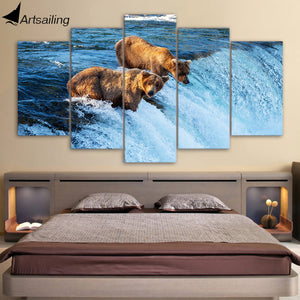 HD printed 5 piece canvas Bear River Painting Artwork living room decor wall painting with frame set free shipping ny-6515