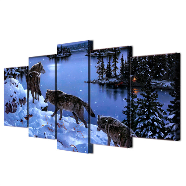 HD Printed Snow Wolf lake Painting Canvas Print room decor print poster picture canvas Free shipping/ny-4508