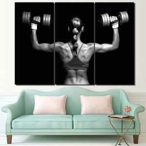 HD Printed 3 Piece Canvas Art Fitness Dumbbells Painting Sexy Poster Wall Pictures for Living Room Modern Free Shipping NY-6937C