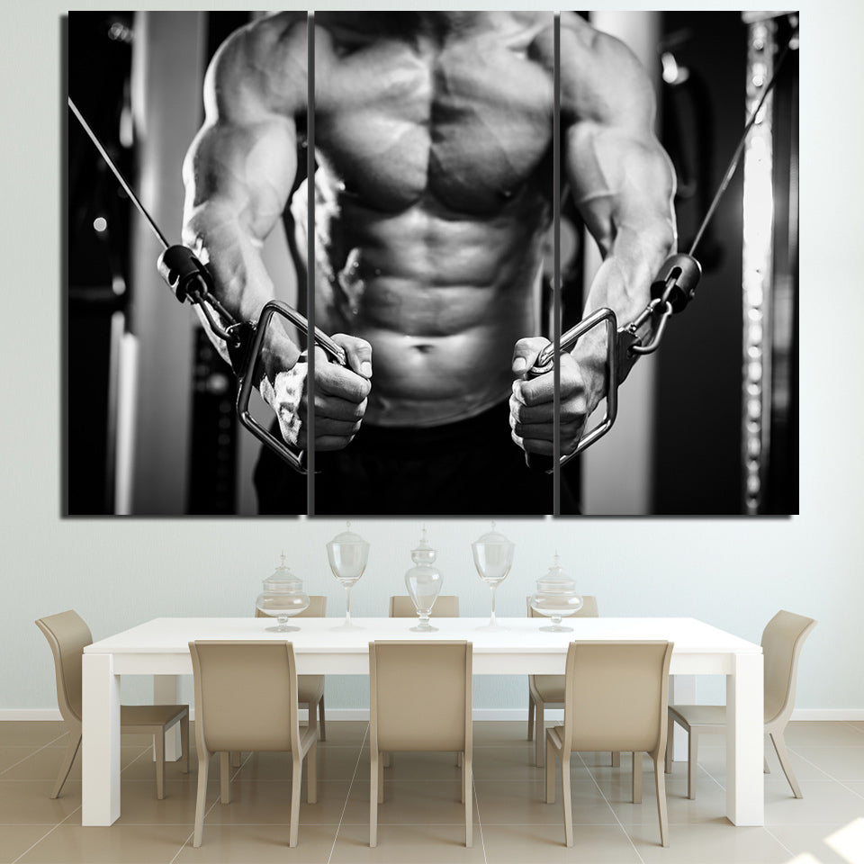 HD Printed 3 Piece Canvas Art Gym Dragsko Fitness Muscle Painting Frames Wall Pictures for Living Room Free Shipping NY-6942C