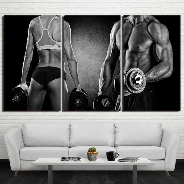 HD Printed 3 Piece Canvas Art HD Sexy Muscle Fitness Dumbbells Painting Wall Pictures for Living Room Free Shipping NY-6940D
