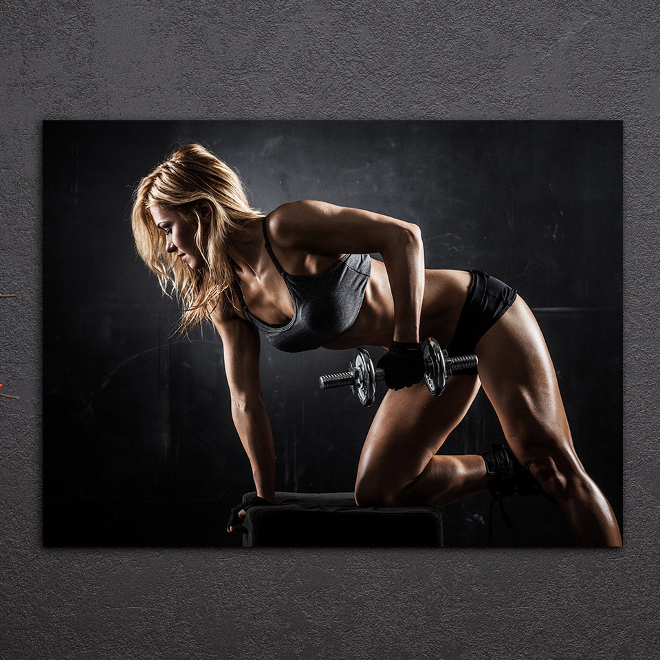 HD Printed 1 Piece Canvas Art Sexy Girl Dumbbells Healthy Fitness Painting Wall Pictures for Living Room Free Shipping NY-6913D