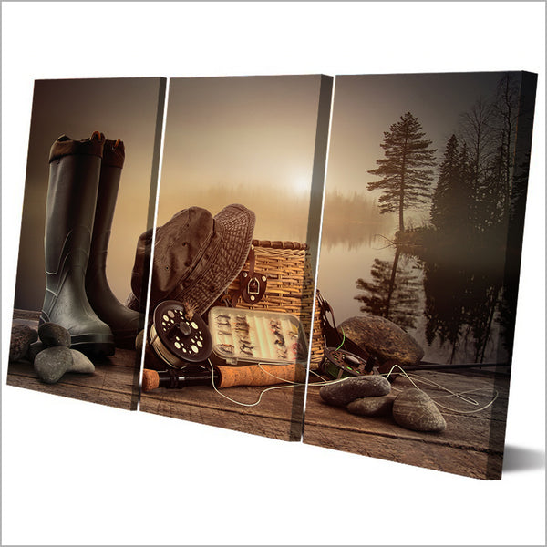 HD Printed 3 Piece Canvas Art Fishing Tools Rod Boots Wooden Board Painting Wall Pictures for Living Room Free Shipping NY-6933C