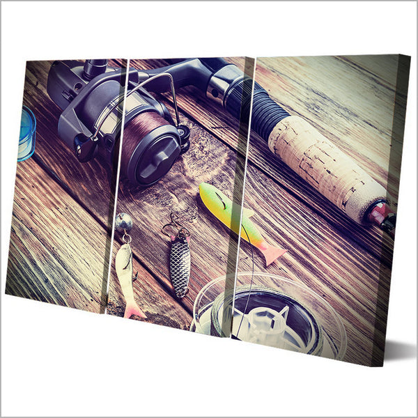 HD Printed 3 Piece Canvas Art Pulley Fishing Rod Hook Painting Wall Pictures for Living Room Model Canvas Free Shipping NY-6935C