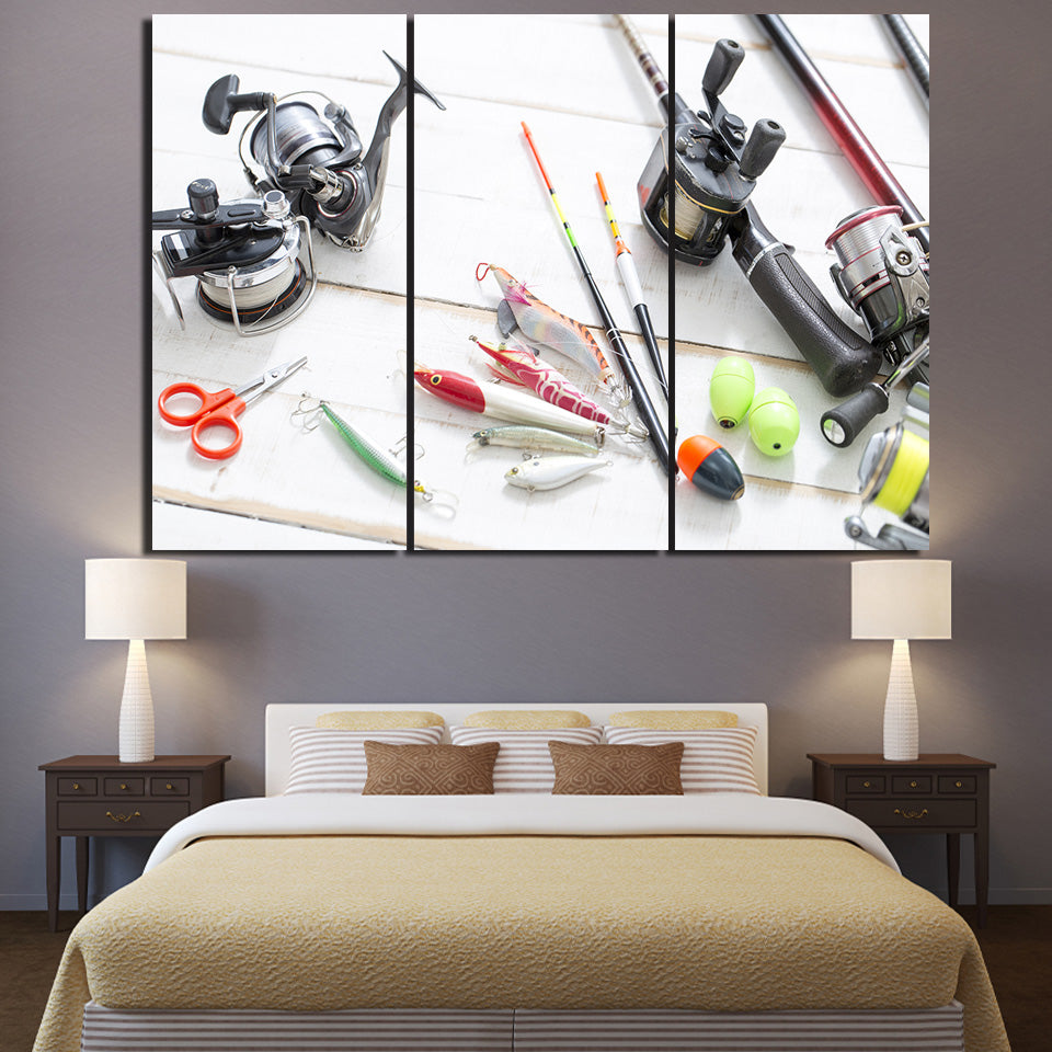 HD Printed 3 Piece Canvas Art Fishing Rod Tools Painting Wall Pictures for Living Room Free Shipping Canvas Prints NY-6931C