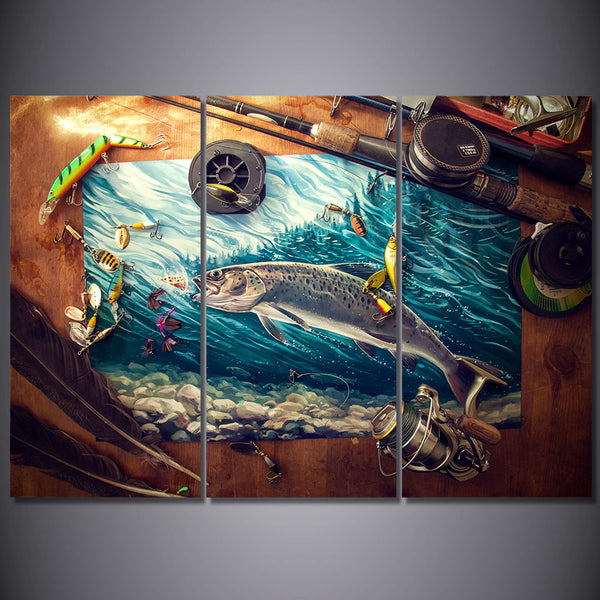 HD Printed 3 Piece Canvas Art Fishing Rod Tuna Blue Ocean Painting Wall Pictures for Living Room Modern Free Shipping NY-6932C