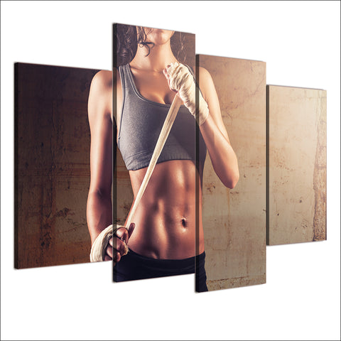 HD Printed 4 Piece Canvas Art Fitness Sexy HD Gym Bodybuilding Painting Wall Pictures for Living Room Free Shipping NY-6921D