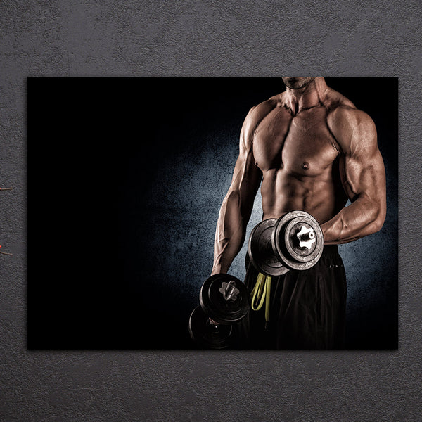 HD Printed 1 Piece Canvas Art Sexy HD Muscle Fitness Gym Dumbbells Painting Framed Wall Art Canvas Prints Free Shipping NY-6916D