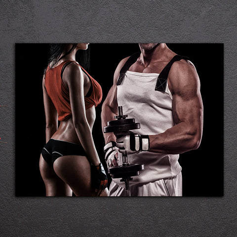 HD Printed 1 Piece Canvas Art Sexy HD Muscle Dumbbells Gym Fitness Painting Wall Pictures for Living Room Free Shipping NY-6914D