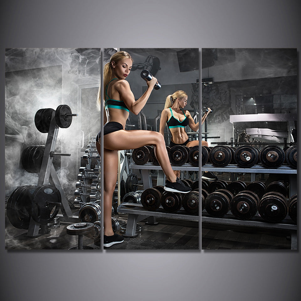 HD Printed 3 Piece Canvas Art Dumbbells Fitness Painting Bodybuilding Hot Sexy Open Photos Wall Pictures Free Shipping NY-6945C