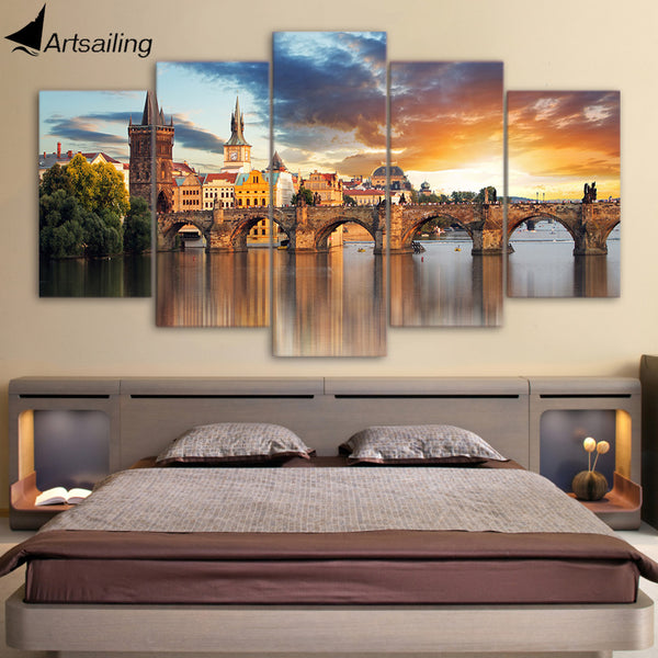 HD Printed 5 Piece Canvas Art Bridge Building Landscape Painting Artwork Living Room Decor Panel Framed Free Shipping ny-6506