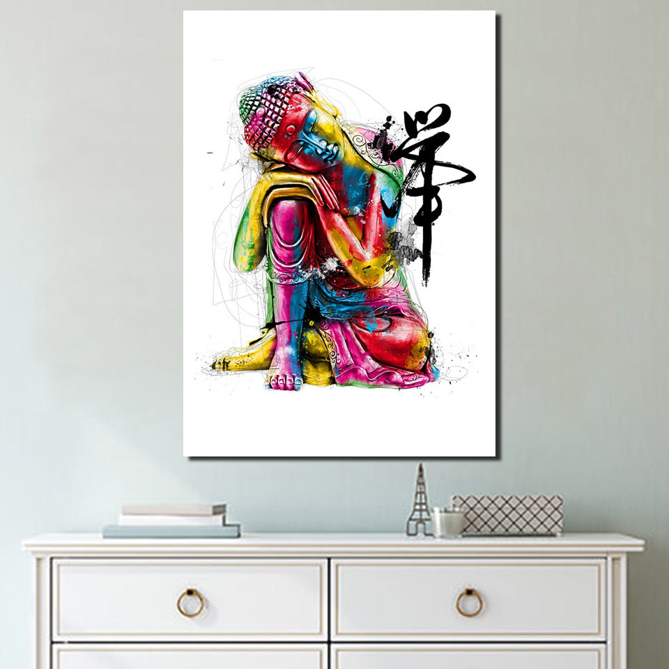 1 piece Canvas Zen Art painting Colorful Buddha chan meditation buddha Zen painting free shipping ny-6640C