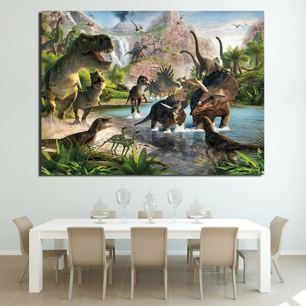 HD Printed 1 Piece Canvas Art Jurassic Jungle Dinosaur Birds Painting Wall Picture For Living Room Modern Free shipping NY-6912C
