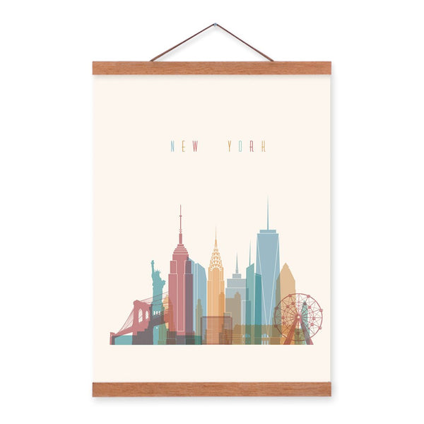 Abstract World City Travel New York Wooden Framed Canvas Paintings Vintage Home Decor Big Scroll Wall Art Pictures Poster Hanger
