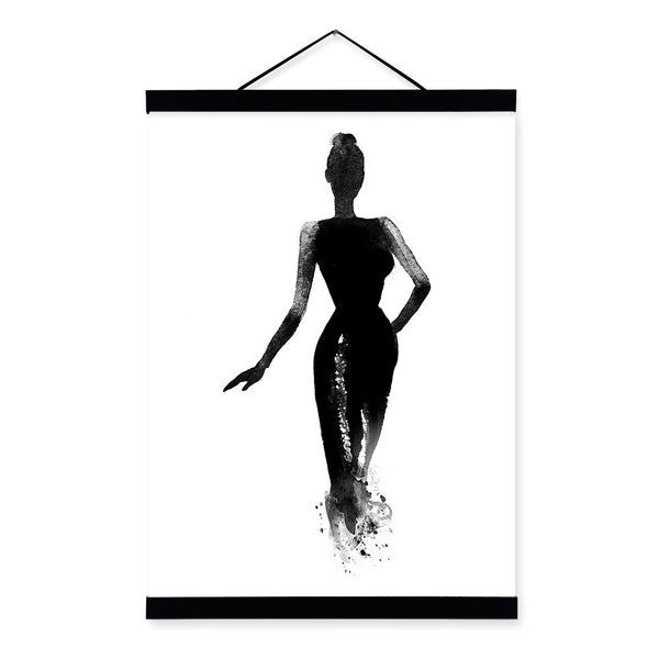Black White Fashion Model Wooden Framed Canvas Paintin Modern Beautiful Girl Room Decor Big Wall Art Print Picture Poster Scroll