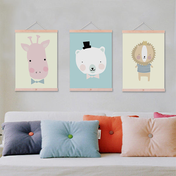 Modern Kawaii Animals Giraffe Lion Elephant Framed Canvas Paintings Cartoon Nursery Kids Room Deco Wall Art Print Picture Poster