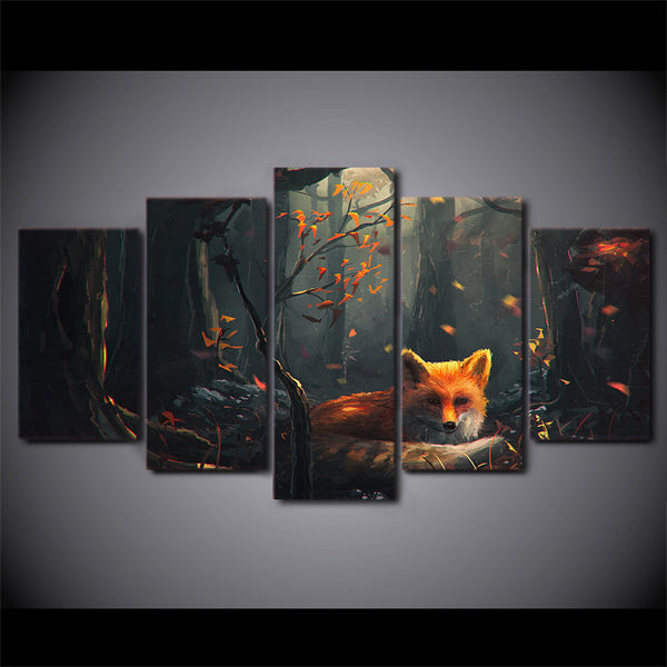 HD Printed 5 Piece Anime Canvas Wall Pictures for Living Room Modern Fox Forest Posters and Prints Free Shipping ny-6728B