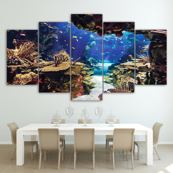 HD Printed 5 piece canvas art Underwater Sea Fish Coral Reefs Canvas Print room decor Wall poster picture Free shipping CU-1324B