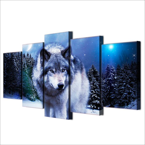 HD Printed Snow Wolf Moon Group Painting Canvas Print room decor print poster picture canvas Free shipping/H057