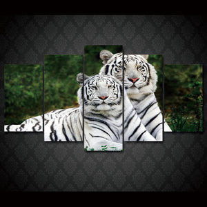 HD Printed white tigers animal Group Painting on canvas room decoration print poster picture framed Free shipping/up-032