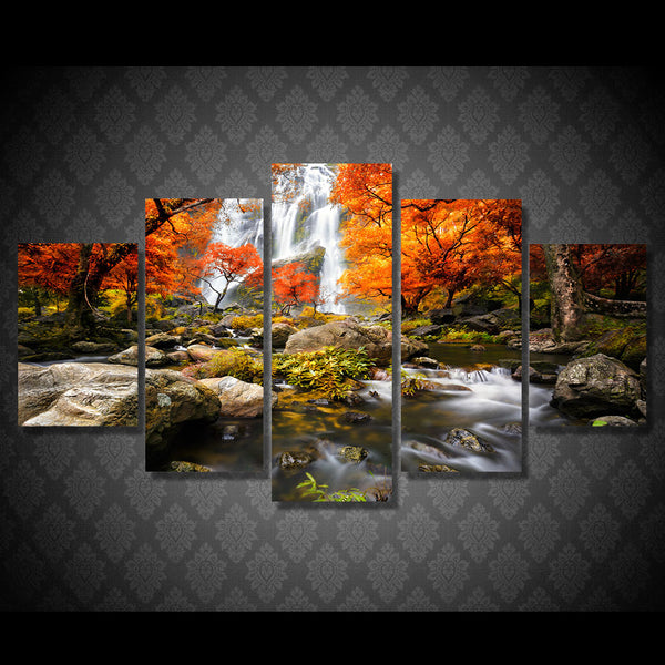 HD Print 5 piece canvas art autumn nature lake forest waterfall landscape Painting Canvas room decor Free shipping/NY-5927