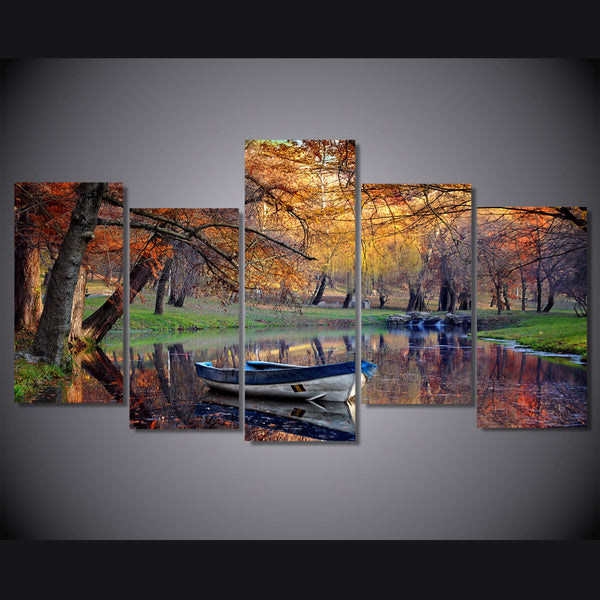 HD Printed Autumn Park Boat Painting on canvas room decoration print poster picture Free shipping/ny-2094
