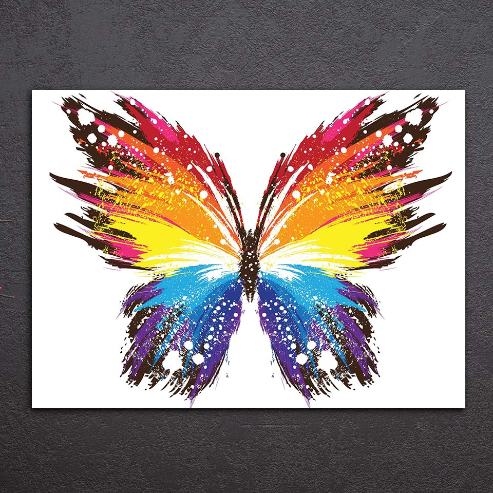 HD Printed 1 piece canvas Painting insect poster color butterfly canvas painting for living room posters Free shipping/ny-6714D