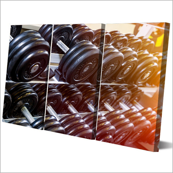 HD Printed 3 Piece Canvas Art Fitness Dumbbells Painting Gym Equipment Wall Pictures for Living Room Free Shipping NY-6943C