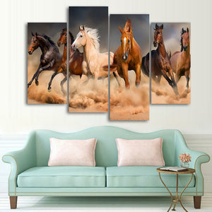 HD printed 4 piece canvas art Animal horses runing painting wall pictures for living room modern free shipping/CU-1622A