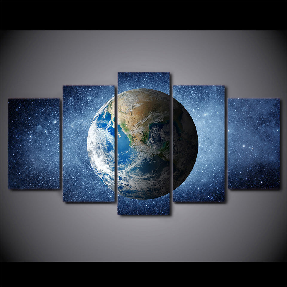 HD Printed 5 Piece Canvas Art Space Universe Stars Painting Blue Earth Wall Pictures for Living Room Free Shipping NY-6972B